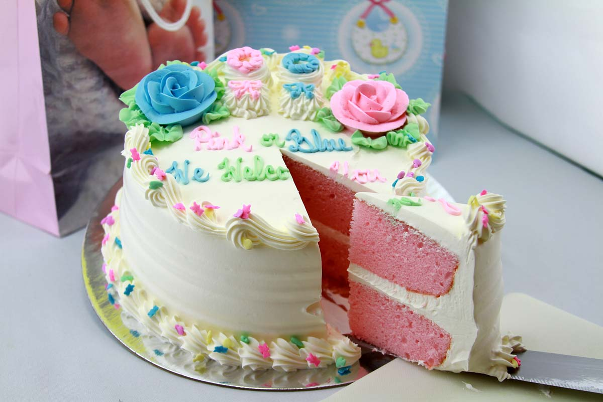 Gender Reveal Cake with Pink Slice
