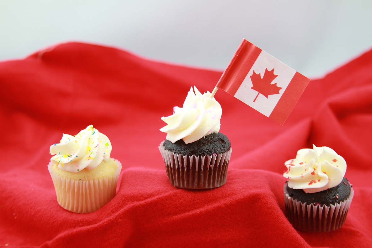 Cupcakes with Canadian Flag